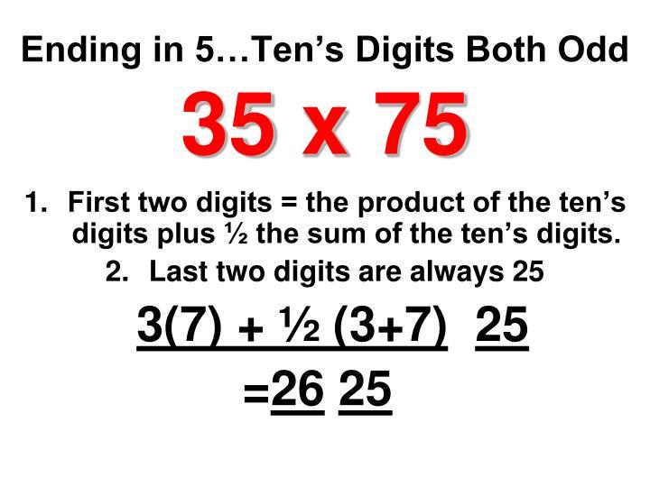 Ending in 5…Ten's Digits Both Odd