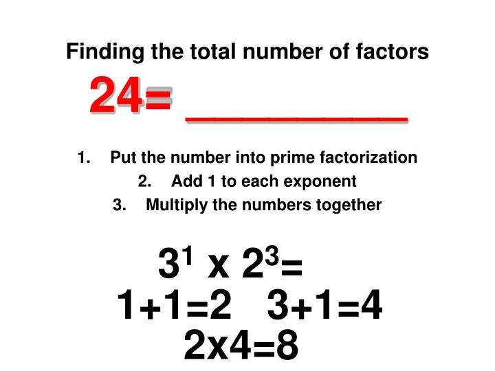 Finding the total number of factors