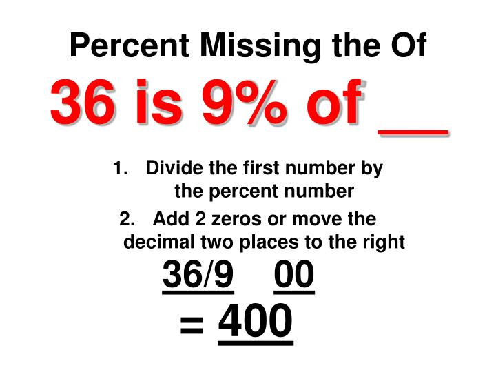 Percent Missing the Of