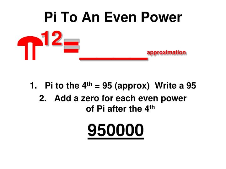 Pi To An Even Power