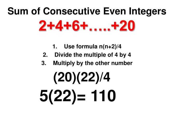 Sum of Consecutive Even Integers