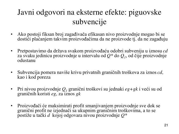 Javni odgovori na eksterne efekte: piguovske subvencije