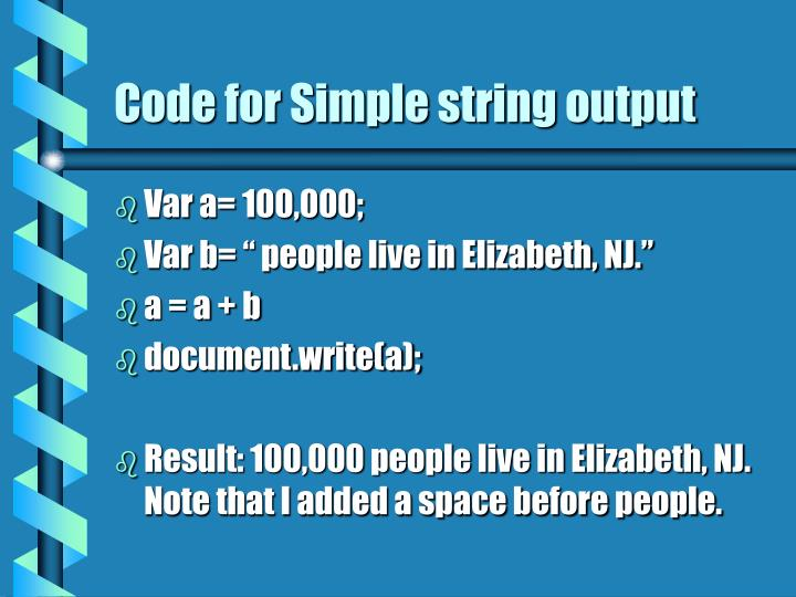Code for Simple string output