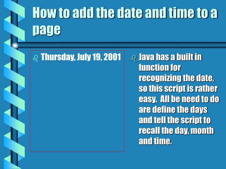 How to add the date and time to a page