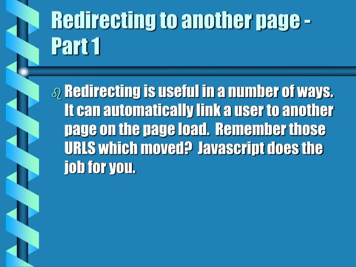 Redirecting to another page - Part 1