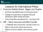 lessons for international policy