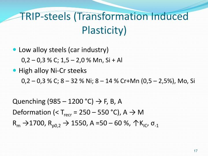 TRIP-steels (Transformation Induced Plasticity)