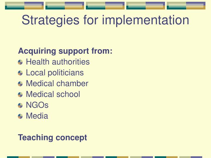 Strategies for implementation