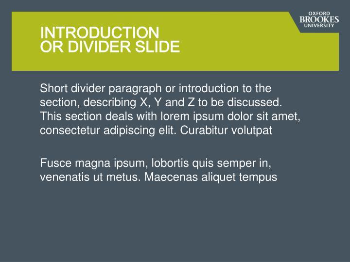 Introduction or divider slide