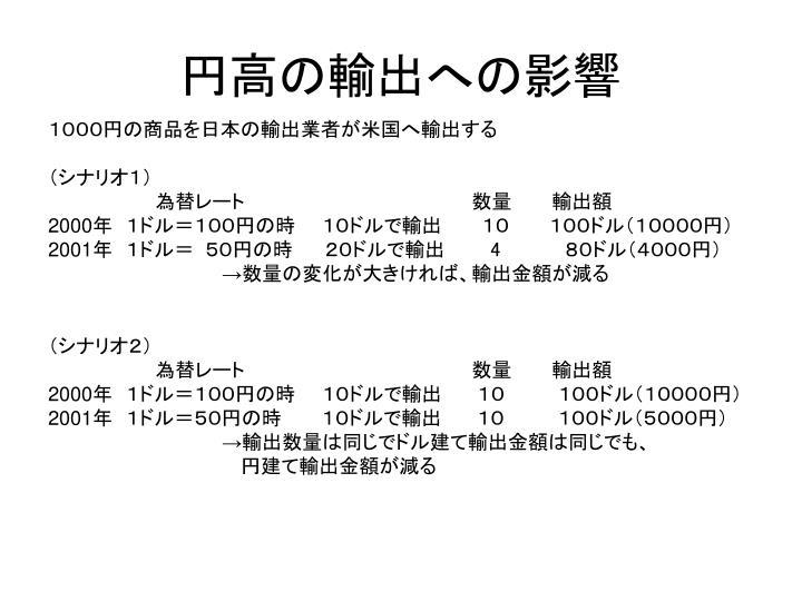円高の輸出への影響