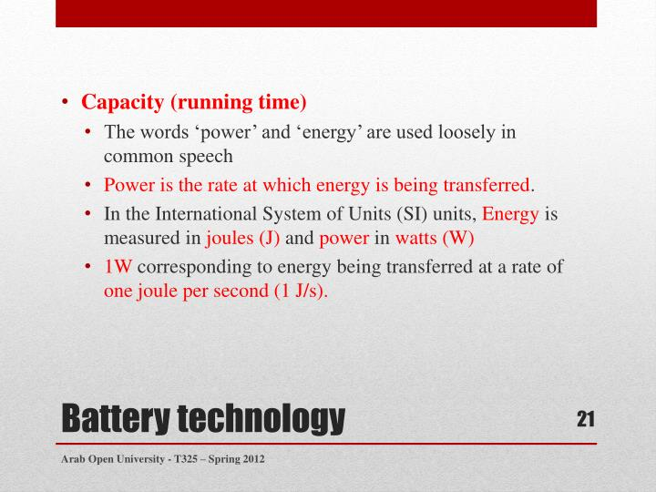 Capacity (running time)