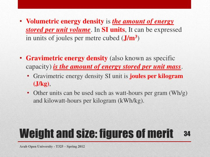 Volumetric energy density