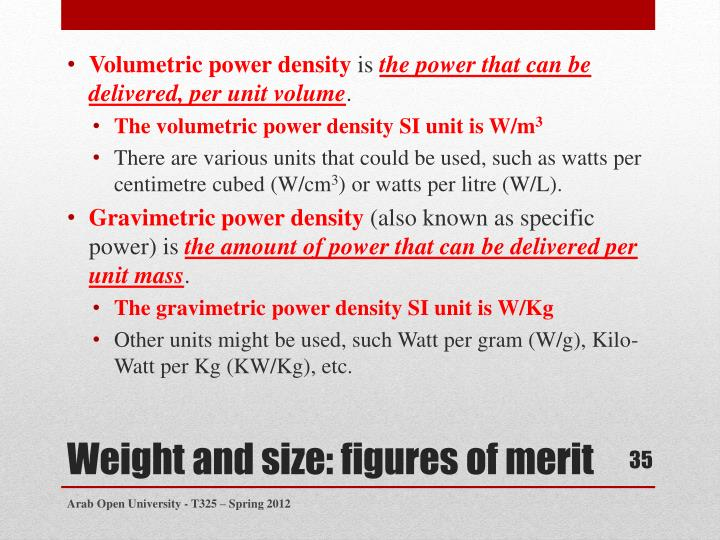 Volumetric power density