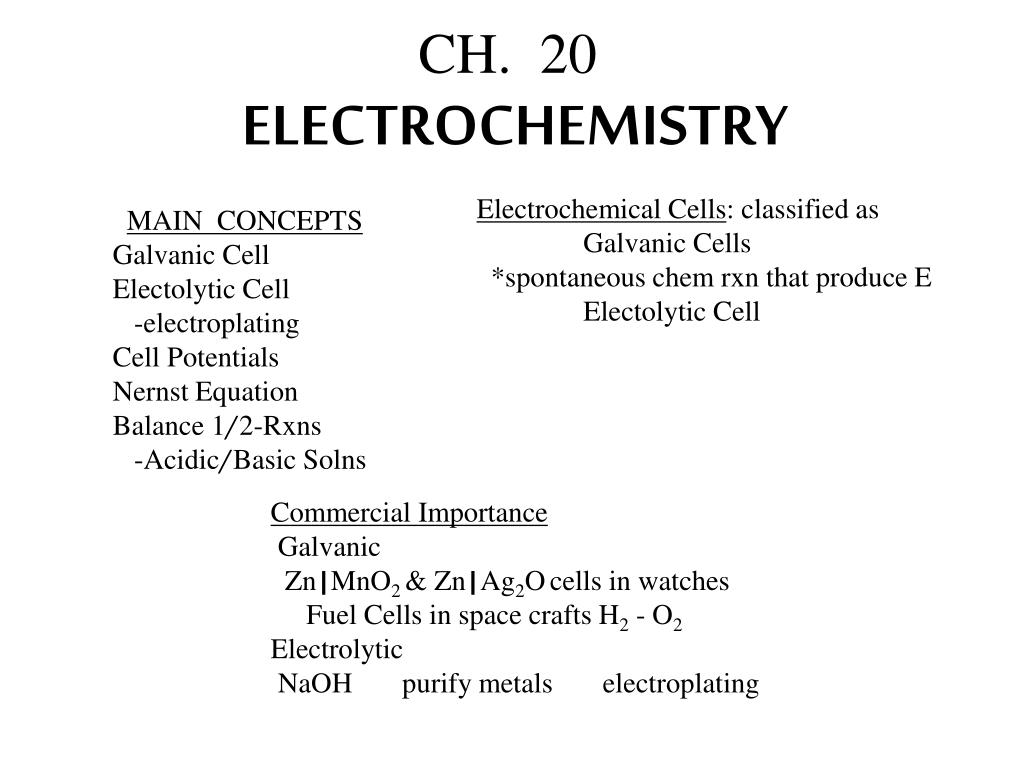 PPT - CH  20 ELECTROCHEMISTRY PowerPoint Presentation - ID:5939319