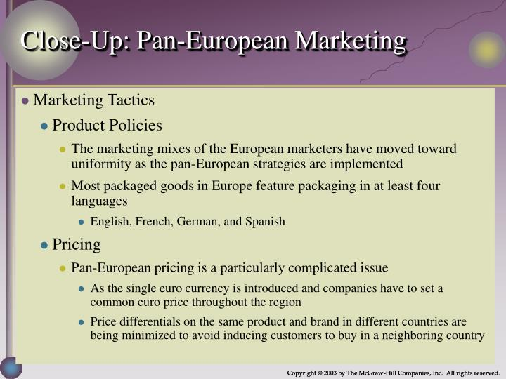 Close-Up: Pan-European Marketing