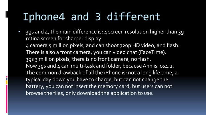 Iphone4 and 3 different