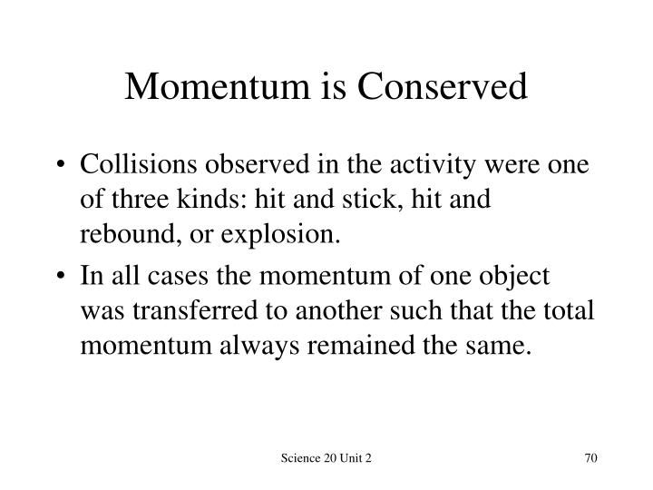 Momentum is Conserved