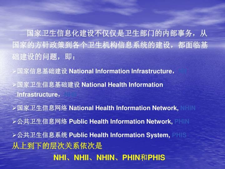 国家卫生信息化建设不仅仅是卫生部门的内部事务,从国家的方针政策到各个卫生机构信息系统的建设,都面临基础建设的问题,即:
