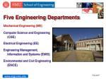 five engineering departments