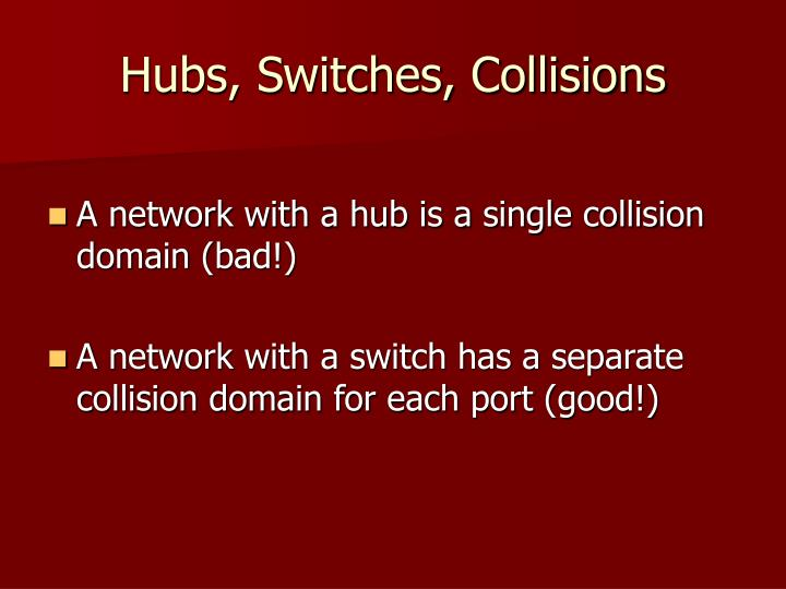 Hubs, Switches, Collisions