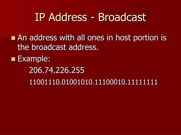 IP Address - Broadcast