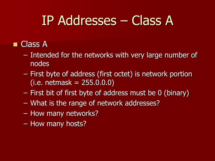 IP Addresses – Class A