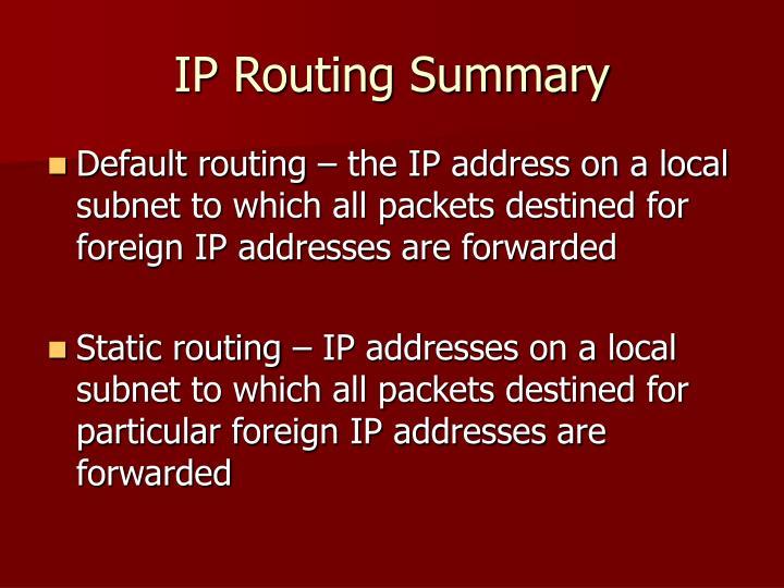 IP Routing Summary