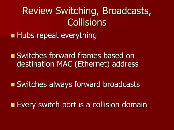 Review Switching, Broadcasts, Collisions