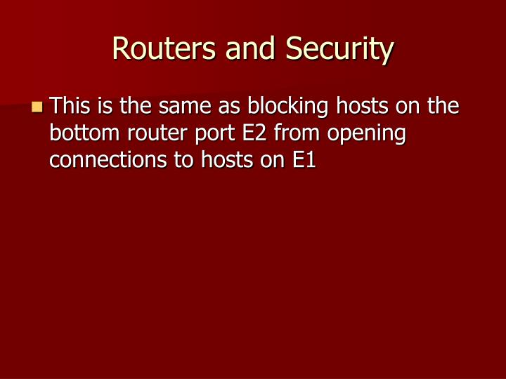 Routers and Security