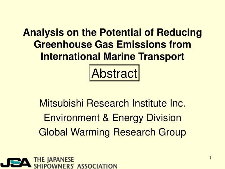 analysis on the potential of reducing greenhouse gas emissions from international marine transport n.