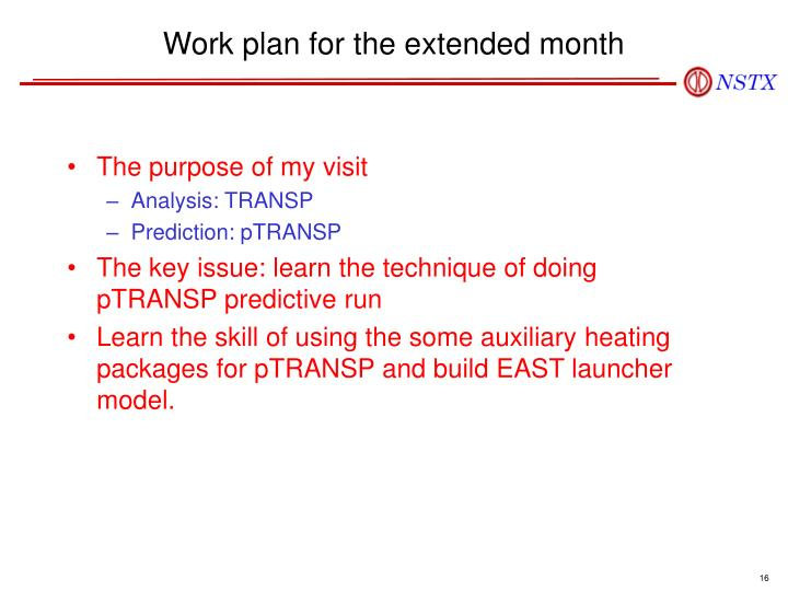 Work plan for the extended month