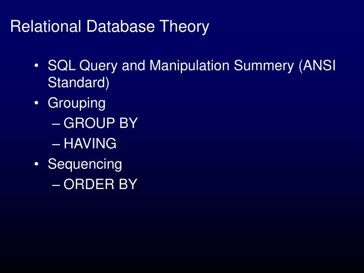 Relational Database Theory
