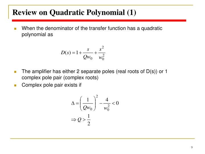 Review on Quadratic Polynomial (1)