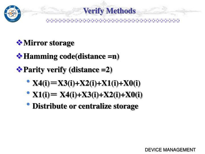 Verify Methods