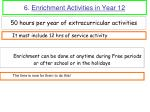 50 hours per year of extracurricular activities