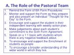 a the role of the pastoral team
