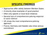 specific findings