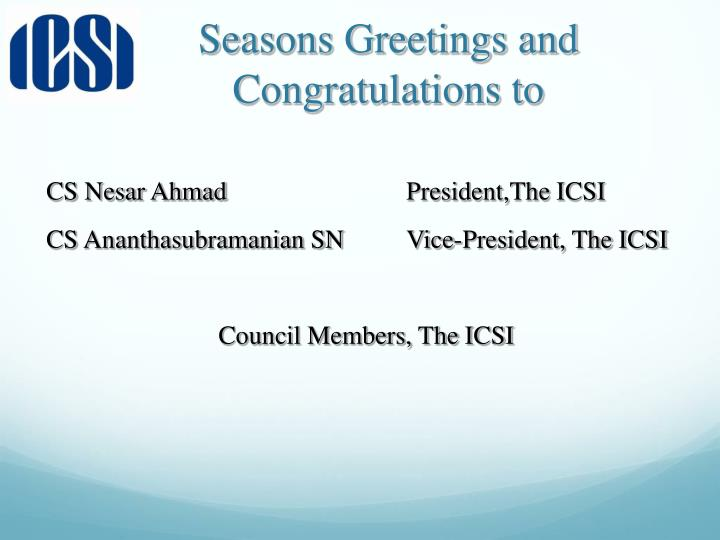 Seasons greetings and congratulations to