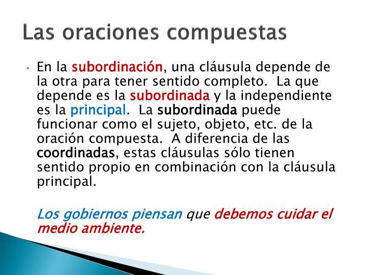 PPT - Las oraciones simples y las oraciones compuestas PowerPoint ...