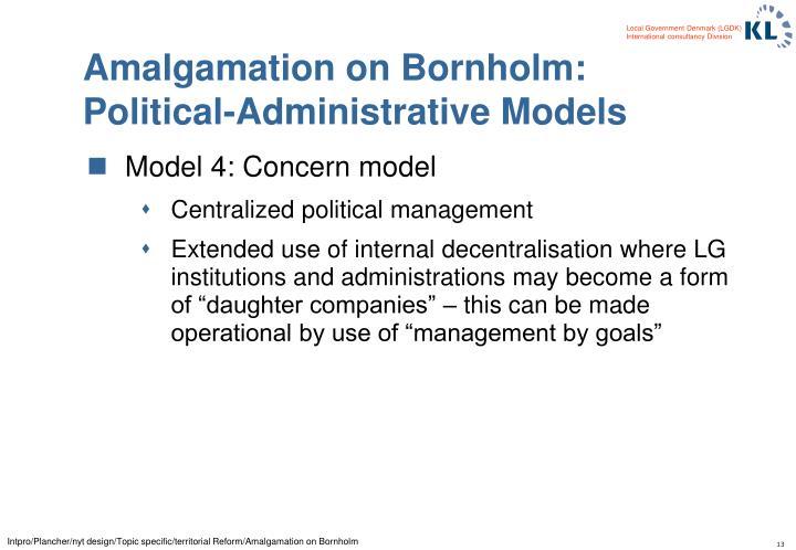 Amalgamation on Bornholm: Political-Administrative Models
