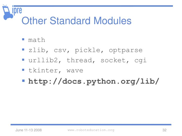 Other Standard Modules