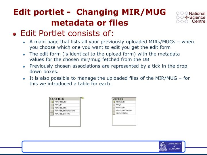 Edit portlet -  Changing MIR/MUG metadata or files