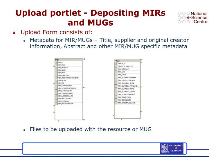 Upload portlet - Depositing MIRs and MUGs