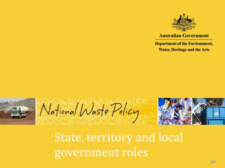State, territory and local government roles