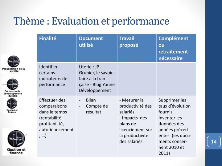 Thème : Evaluation et performance