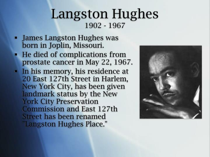 a biography of james langston a writer Langston hughes was first recognized as an important literary figure during the 1920s, a period known as the harlem renaissance because of the number of emerging du bose heyward wrote in the new york herald tribune in 1926: langston hughes, although only twenty-four years old, is already.
