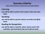 success criteria how will you know you have been successful today