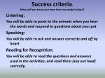 success criteria how will you know you have been successful today1