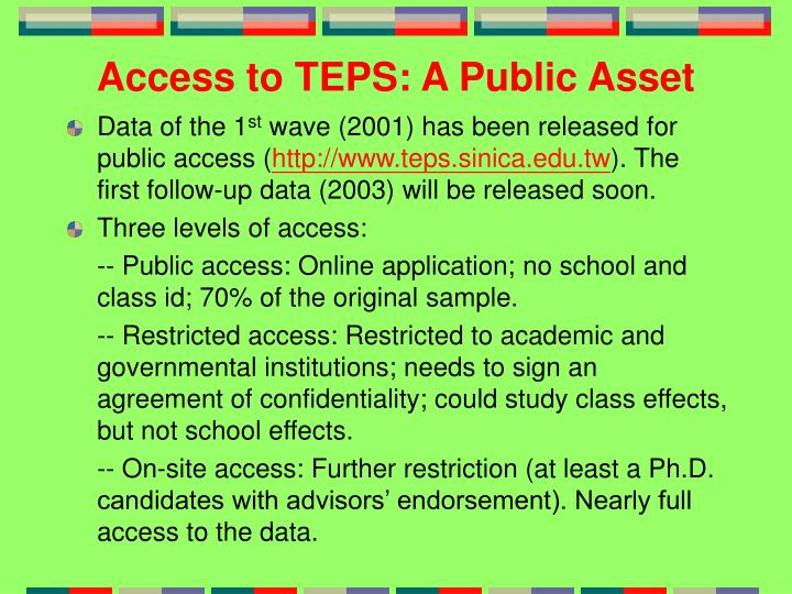 Access to TEPS: A Public Asset