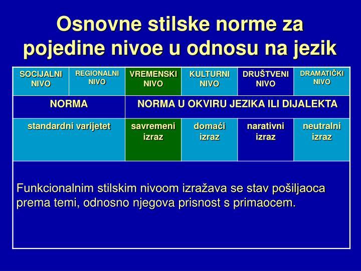 Osnovne stilske norme za pojedine nivoe u odnosu na jezik